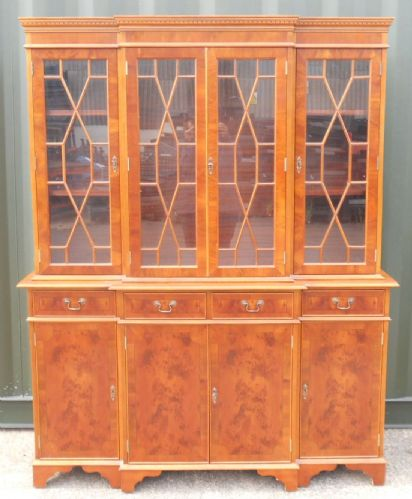 Yew Four Door Library Breakfront Bookcase